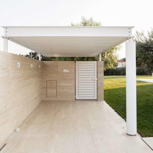 Progetto di copertura del giardino di Villa Angelino a Sabaudia, architetto Federico Lestini